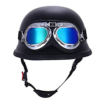 Vintage German Style Half Open Face Motorcycle Helmet With Goggles Glasses for Men Women