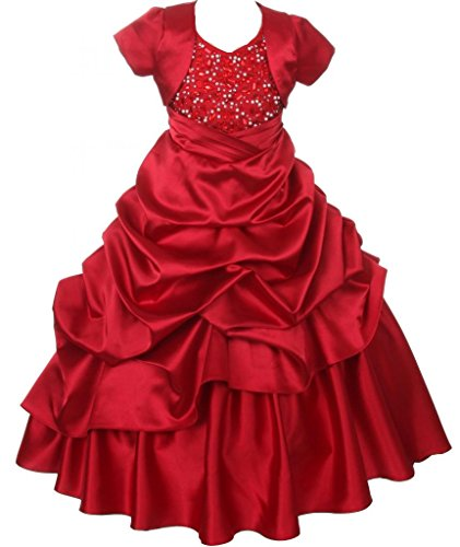Akidress Satin Halter Pickup Dress & Bolero Set With Bead Embellishments Red 4-16