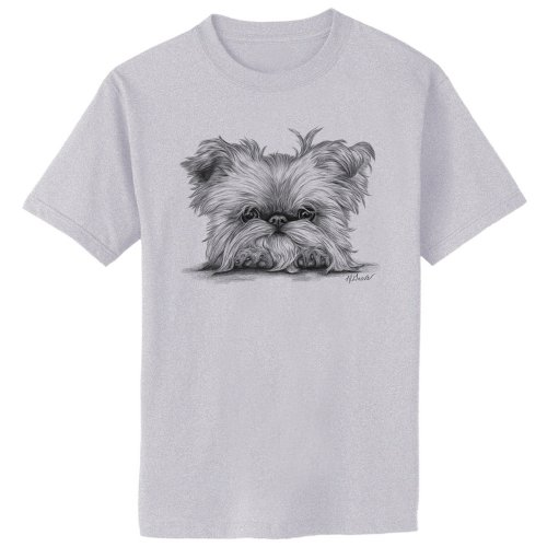 Brussels Griffon on Paws Dog Art Print T-Shirt, 2XL, Ash Gray