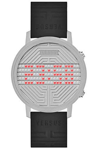Versus - 3C7110 - Hollywood - Montre Mixte - Quartz Digital - Cadran Gris - Bracelet Caoutchouc Noir