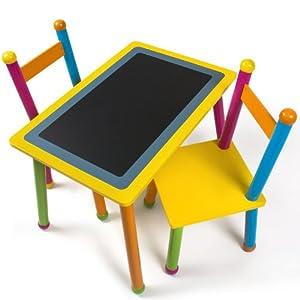Tavolino 2 sedie per bambini legno con lavagna integrata multicolore - Tavolino con sedia per bambini ...