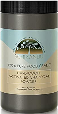 Activated Charcoal Powder FOOD GRADE, In Huge Jar. USA Hardwood. Whiten Teeth, Rejuvenate Skin, Detoxify, Help Eliminate Digestive Issues and Prevent Hangovers, Treat Insect Bites, Itching. 10 oz.