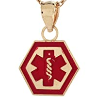 14k Real Gold Medical Alert Red Enamel 1.1cm Charm Pendant