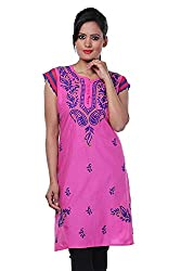 ADA Lucknow Chikan Hand Embroidery Casual Ethnic Kurti Dress for Women A91275