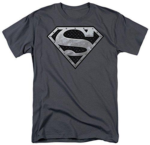 DC Comics Men's Superman Super Metallic Shield T-Shirt, Charcoal, X-Large (Superman: Man Of Steel Cape)