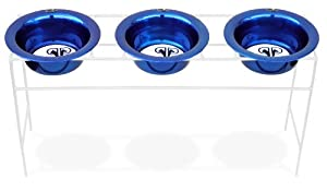 Platinum Pets White Triple Modern Diner Stand with 2 Cup Stainless Steel Dog Bowls in Sapphire Blue