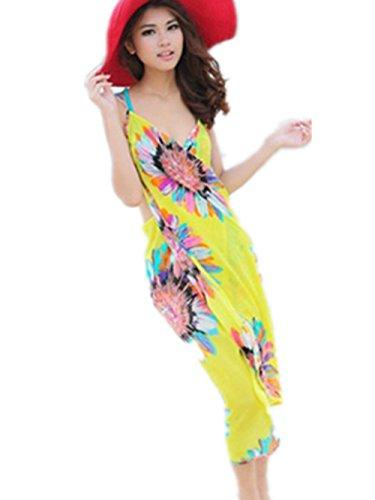 Women Summer Sexy Swimwear Open-Back Wrap Front Cover Up Beach Dress (Yellow)