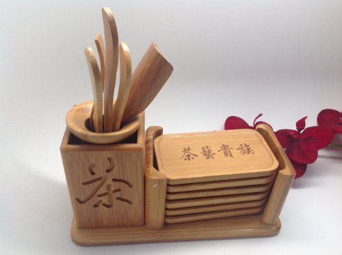 Gong Fu Tea Tools Fancy Set With Bamboo Coaster
