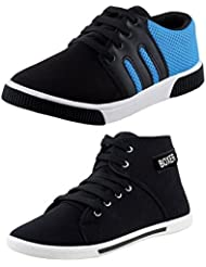 Earton COMBO Pack Of 2 Pair Men/Boys Black Casual Shoes (Sneakers Shoes)