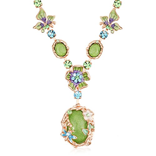 The Starry Night Bohemian Style Green Crystal Beautiful Flower Girl Femininity Noble Temperament Necklace