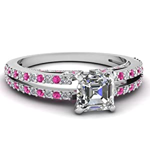 Fascinating Diamonds 0.85 Ct Asscher Cut Diamond & Pink Sapphire Engagement Ring Pave Gold VS2 14K GIA
