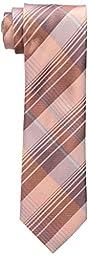 Calvin Klein Men\'s Schoolboy Chalk Plaid Tie, Melon, One Size