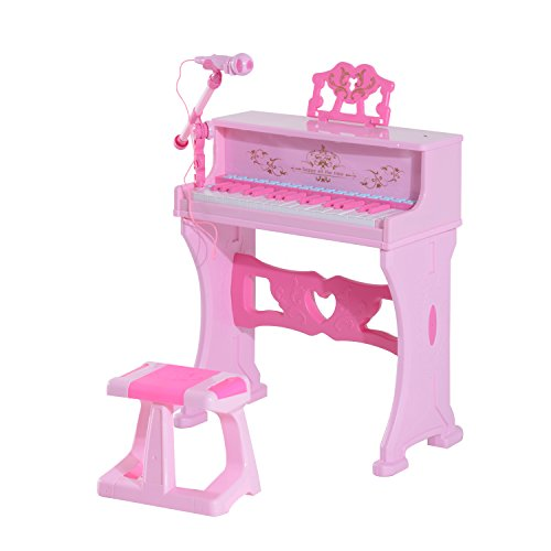 Qaba-Kids-37-Key-Lovely-Princess-Electronic-Piano-Keyboard-with-Stool-and-Microphone-Pink