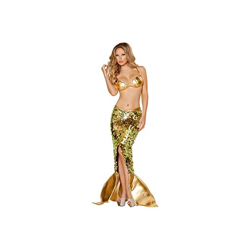 [Mermaid Costume Adult Female Costume Halloween Cosplay Dress (Gold)] (Sea Siren Sexy Costumes)