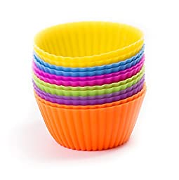 Select Culinary Silicone Baking Cups - Set of 12 Cupcake Liners - Non-stick Silicone Cup Cake Molds