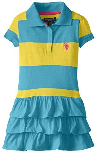 U.S. Polo Assn. Little Girls' Ruffled Stripe Polo Dress, Surf Blue, 3T