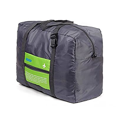 GINIA Waterproof Nylon Foldaway Storage/Duffel Bag For Travel, Camping, Sports Gear or Gym - Large Capacity Lightweight Trolley/Tote Bag, Can Attach on the Handle of Suitcase & Luggage, Green