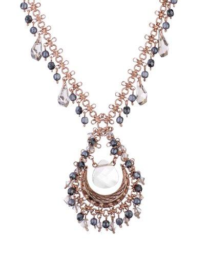 'Release' Collection 24K Rose Gold Plated Impressive Chain by Israeli Amaro Jewelry Studio with Tear Drop Pendant Set with Labradorite, Hematite, Pyrite, Black Tahiti Pearls, Swarovski Crystals