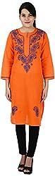 Drishti Lucknowi Chikan Women's Cotton Kurta (DLC-K01, Orange, M)