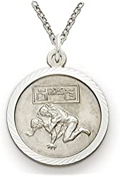 """.925 Sterling Silver Boy's Wrestling Sports Patron Saint St. 3/4"""" Medal with St. Christopher on Back Comes with a 20'' chain Pendant Necklace in a deluxe velvet box"""