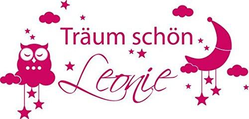 Wandtattoo Eule Aufkleber Kinderzimmer Mädchen Spruch Träum schön Wunschname (83x40cm // 041 pink)