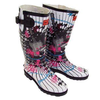 Womens & Girls Rock Chick Guitar Print Festival Concert Slip On Wellington Boots