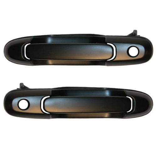 1998-2003 Toyota Sienna Front Black Outside Outer Exterior Door Handle with Keyhole Pair Set Left Driver AND Right Passenger Side (1998 98 1999 99 2000 00 2001 01 2002 02 2003 03)