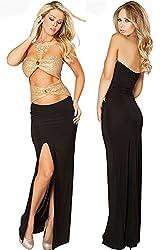 Qurves-Golden Unique Front Cutout Strapless Evening Dress
