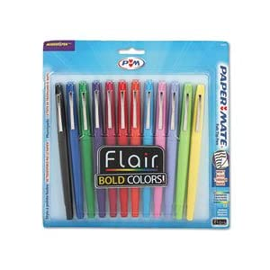Papermate Flair Porous Point Stick Pens, Assorted Ink, Medium Point, Dozen, ST - PAP74423