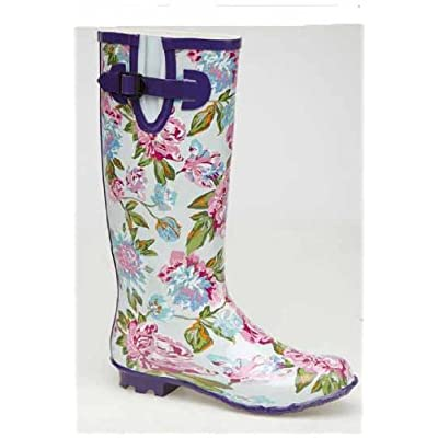 Ladies 2011 Wide Calf Floral Design Welly