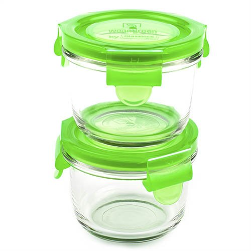 Wean Green 2-Pack Wean Bowls Glass Food Containers, Pea