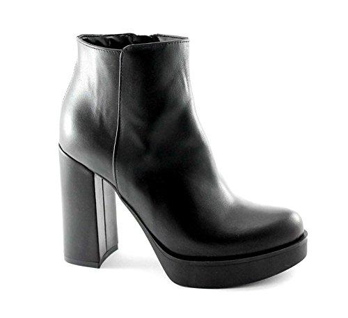 DIVINE FOLLIE 1152 nero stivaletti donna tronchetti zip tacco plateaux 38