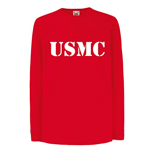 Funny t shirts for kids Long sleeve US marine t shirt army t shirts Marines USMC logo (5-6 years Red Gold)
