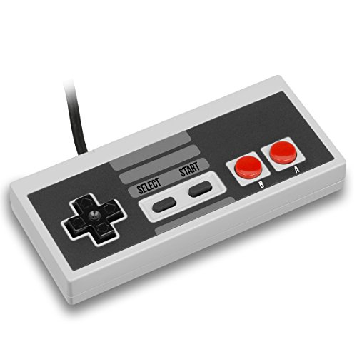 Nintendo Classic Mini Controller - TwitFish Retro GamePad (Old-Skool Grey), 1.8M / 6FT Classic Wired Game Controller for use with NES Classic Edition 2016