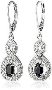 Sterling Silver Genuine Sapphire White Topaz Infinity Dangle Lever Back Drop Earrings