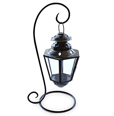 Hanging Tea Light Candle Lantern with Iron Base - Home Decor and Outdoor Use