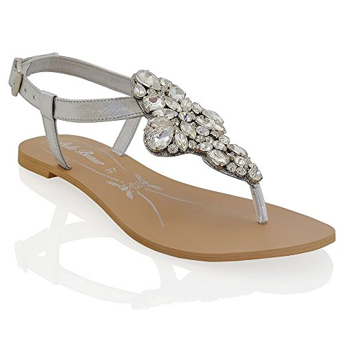 Essex Glam Sandalo Donna Argento Vacanze Infradito T-Bar Finto Diamante EU 36