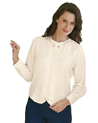National Long Sleeve Weskit Blouse, Ivory, 8P
