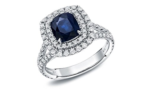 Cushion Blue Sapphire 3.84Ct tcw Double Halo Round Cut Diamond 14k White Gold Wedding Bridal Anniversary Ring,All US Ring Size 4 to 13 available (Ring Diamond White Gold compare prices)