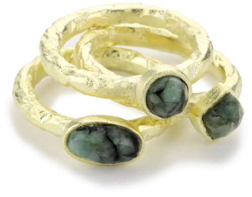 SHEILA FAJL Emerald 18k Gold-Plated Ring, Size 7