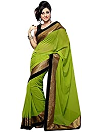 Sarees For Women's Clothing Saree For Women Latest Design Wear Sarees Collection In Green Coloured Chiffon Material...