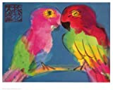 Two Parrots Art Poster Print by Walasse Ting, 31x26