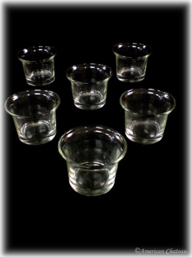 6 pc Clear Glass Votive Holders Flared Candle Holder Lot / Replacement Set