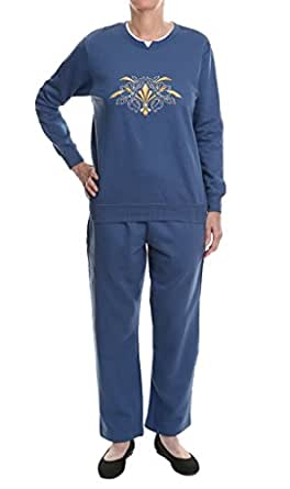 Pembrook Women's Embroidered Fleece Sweatsuit Set- S -Deep ...