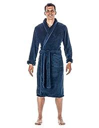 Mens Premium Coral Fleece Plush Spa/Bath Robe - Navy - Small/Medium