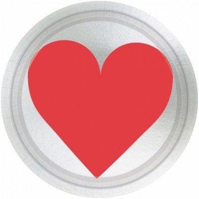 "Amscam Valentines Day Key to Your Heart Metallic Round Paper Plates (8 Per Pack), 7"", Multicolor"