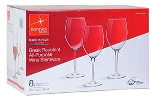 Bormioli Rocco 20.7 oz. Break-Resistant All Purpose Wine Stemware, Set of 8 by Bormioli Rocco