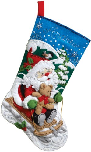 Bucilla 86279 Santa's Sled Stocking Felt Applique Kit, 18-Inch