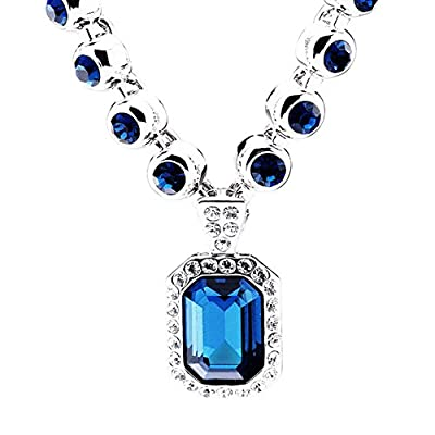 "TK Beauty Women Luxury Wedding Swarovski Element Crystal Decoration Pendant Necklace""The Blue River Love"""