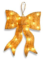 "24"" Sparkling Gold Lighted Whimsical Sisal Bow Christmas Decoration"